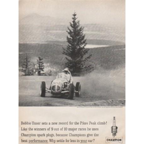 """1961 Champion Spark Plugs Ad """"Pikes Peak climb"""""""