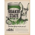 "1949 Quaker State Motor Oil Ad ""Finest Easter Gift you can give your car !"""