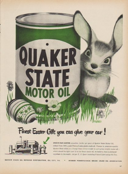 1949 quaker state motor oil ad finest easter gift you can for How to get motor oil out of jeans