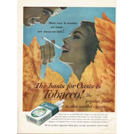 "1961 Oasis Cigarettes Ad ""smoke so cool"""