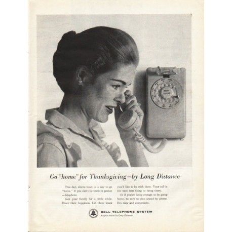 "1961 Bell Telephone System Ad """"home"" for Thanksgiving"""