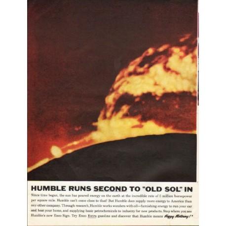"1961 Humble Oil & Refining Ad ""Humble runs second"""