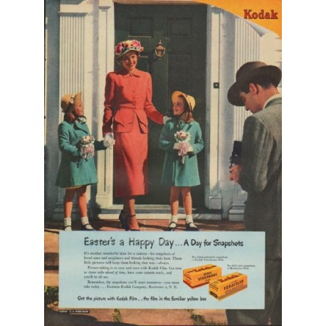 "1949 Kodak Ad ""Easter's a Happy Day ... A Day for Snapshots"""