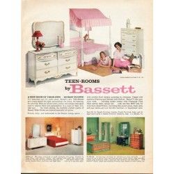 "1961 Bassett Furniture Ad ""Teen-Rooms"""