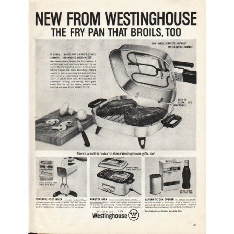 "1961 Westinghouse Ad ""fry pan that broils"""