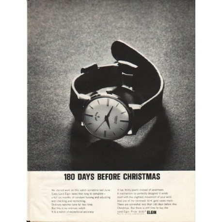 """1961 Elgin Watch Ad """"180 Days Before Christmas"""""""