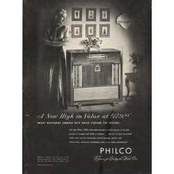 "1948 Philco Radio-Phonograph Ad ""A New High"""