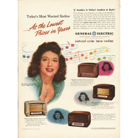 """1948 General Electric Radio Ad """"Most Wanted Radios"""""""