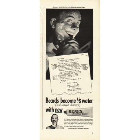 "1948 Benex Brushless Shave Ad ""1/5 water"""