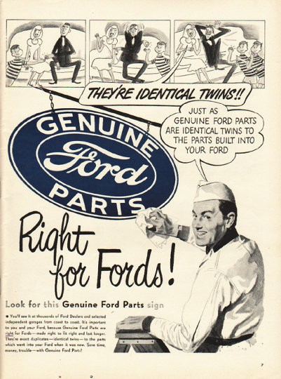 1948 Ford Parts Vintage Ad Quot They Re Identical Twins Quot