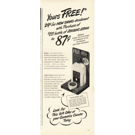 "1948 Dryad Deodorant Ad ""Yours Free"""