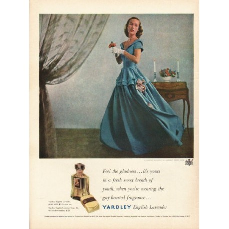 "1948 Yardley Perfume Ad ""Feel the gladness"""