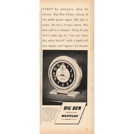 """1948 Westclox Ad """"First he whispers"""""""