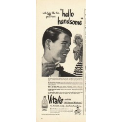 "1948 Vitalis Ad ""hello handsome"""