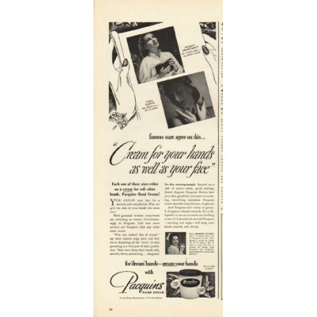 """1948 Pacquins Hand Cream Ad """"Cream for your hands"""""""