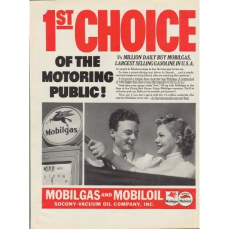 "1937 Mobilgas and Mobiloil Ad ""1st Choice"""