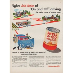 "1949 Shell Motor Oil Ad ""Fights Acid Action of ""On and Off"" driving"""