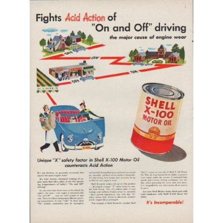 """1949 Shell Motor Oil Ad """"Fights Acid Action of """"On and Off"""" driving"""""""