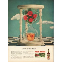 "1948 Four Roses Whiskey Ad ""Drink of the hour"""