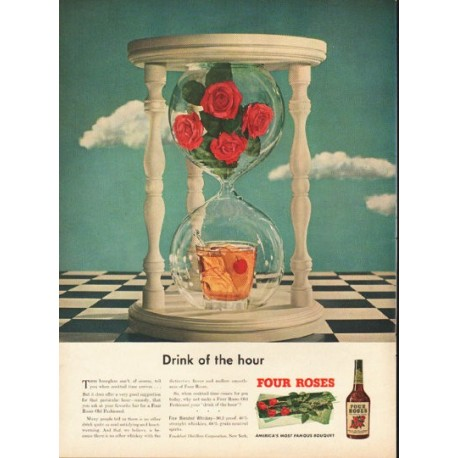 """1948 Four Roses Whiskey Ad """"Drink of the hour"""""""