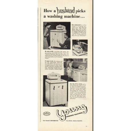 "1948 Young Washing Machine Ad ""How a husband picks"""