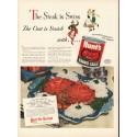 "1948 Hunt's Tomato Sauce Ad ""The Steak is Swiss"""