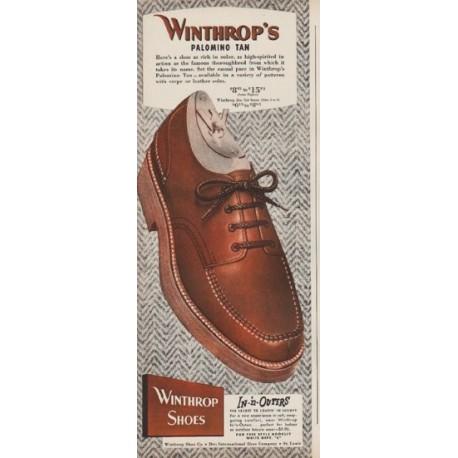 "1949 Winthrop's Shoes Ad ""Palomino Tan"""