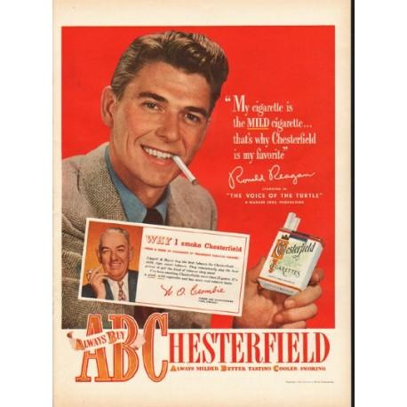1948 Chesterfield Cigarettes Ad ~ Ronald Reagan