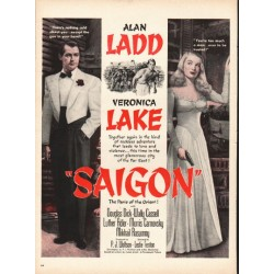 1948 Saigon Movie Ad ~ Alan Ladd * Veronica Lake