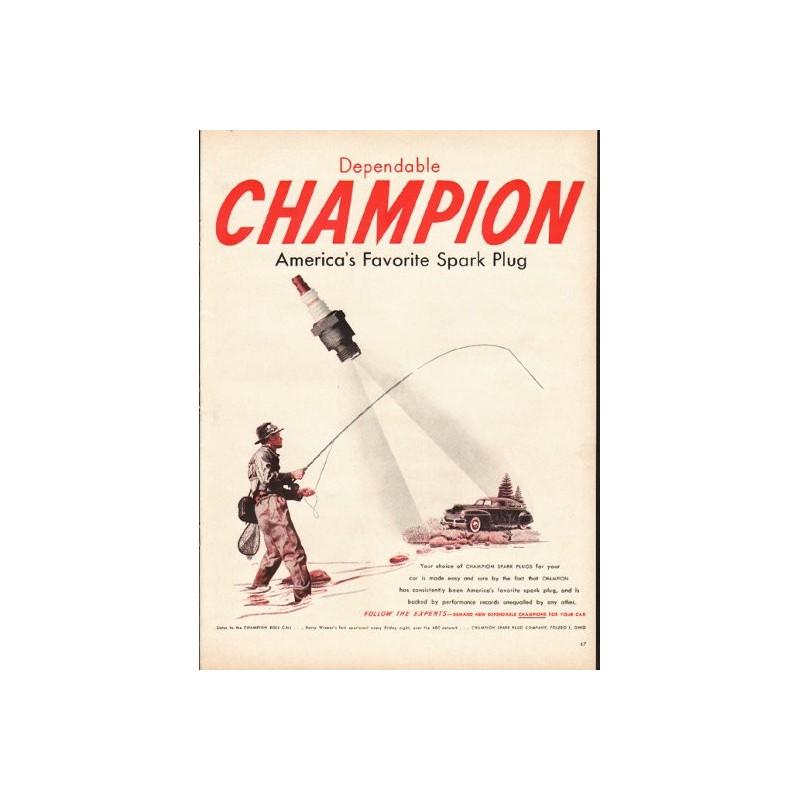 1948 Champion Spark Plugs Vintage Ad Quot America S Favorite