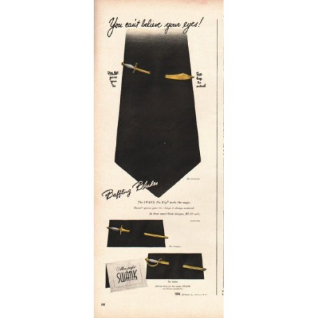 "1948 Swank Pin Klip Ad ""Baffling Blades"""