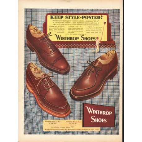 """1948 Winthrop Shoes Ad """"Keep Style-Posted"""""""