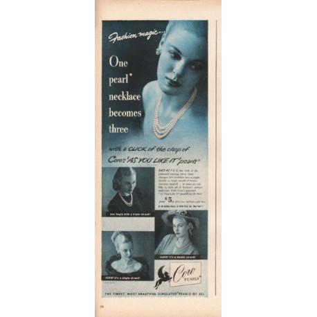"1948 Coro Pearls Ad ""Fashion magic"""