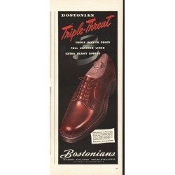 "1948 Bostonians Shoes Ad ""Triple-Threat"""