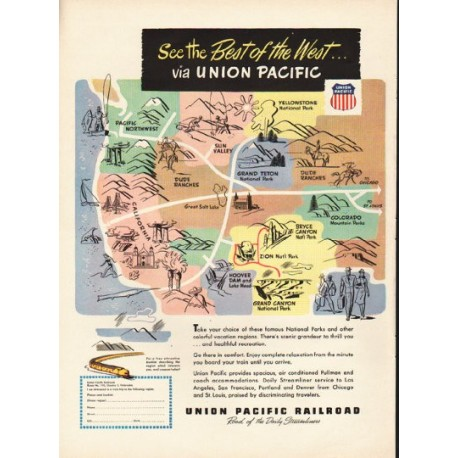 "1948 Union Pacific Railroad Ad ""Best of the West"""