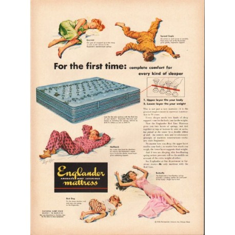 "1948 Englander Mattress Ad ""For the first time"""
