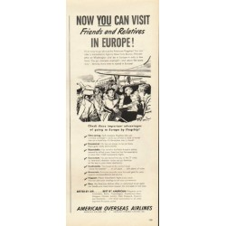 "1948 American Overseas Airlines Ad ""Europe"""