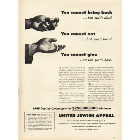 """1948 United Jewish Appeal Ad """"cannot bring back"""""""