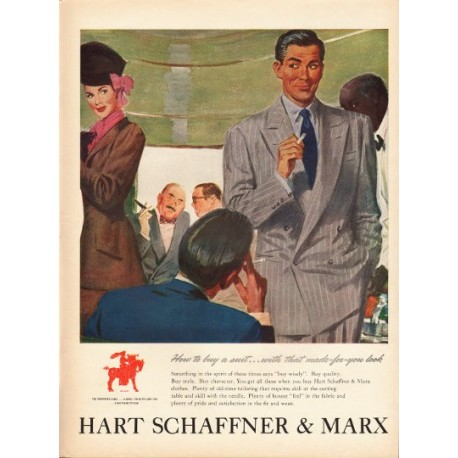 """1948 Hart Schaffner & Marx Ad """"How to buy a suit"""""""