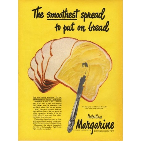 "1948 National Association of Margarine Manufacturers Ad ""smoothest"""