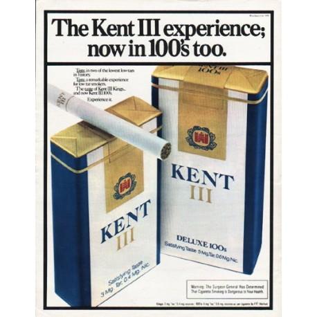 "1980 Kent Cigarettes Ad ""Kent III experience"""