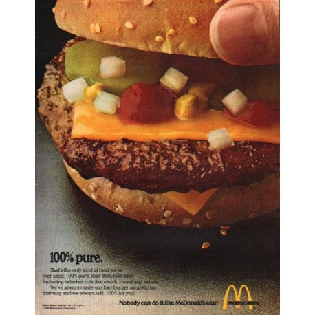 "1980 McDonald's Ad ""100% pure."""