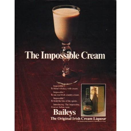 """1980 Baileys Irish Cream Liqueur Ad """"The Impossible Cream"""""""