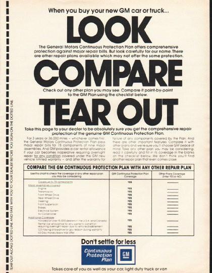1980 General Motors Vintage Ad Continuous Protection Plan