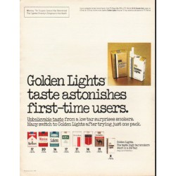 "1980 Golden Lights Cigarettes Ad ""taste astonishes"""