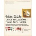"""1980 Golden Lights Cigarettes Ad """"taste astonishes"""""""