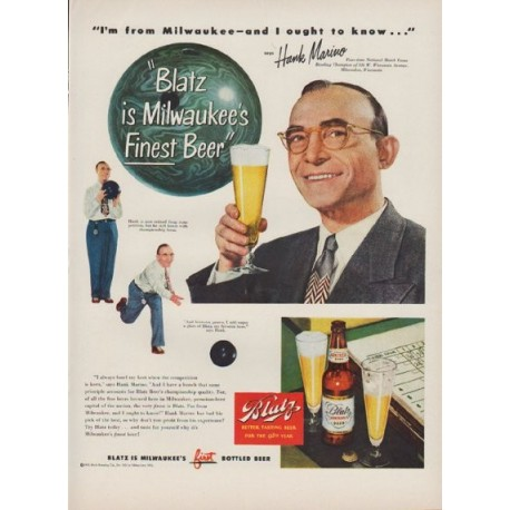 "1949 Blatz Beer Ad ""Blatz is Milwaukee's Finest Beer"""