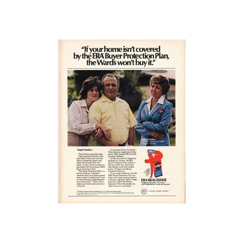 """Buyer Protection: 1980 ERA Real Estate Vintage Ad """"Buyer Protection Plan"""""""