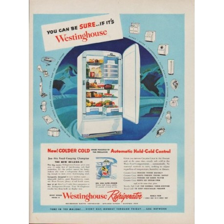 "1949 Westinghouse Refrigerator Ad ""You Can Be Sure"""
