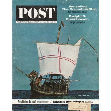 "1963 Saturday Evening Post Cover Page ""Columbus Ship"" ~ January 26, 1963"